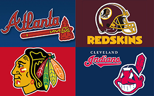 The Atlanta Braves (top left, clockwise), Washington Redskins, Atlanta Braves and Chicago Blackhawks are among the professional sports teams with 'questionable' nicknames and logos.