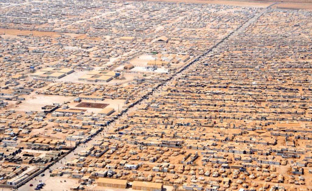 An aerial view of the Zaatri refugee camp.