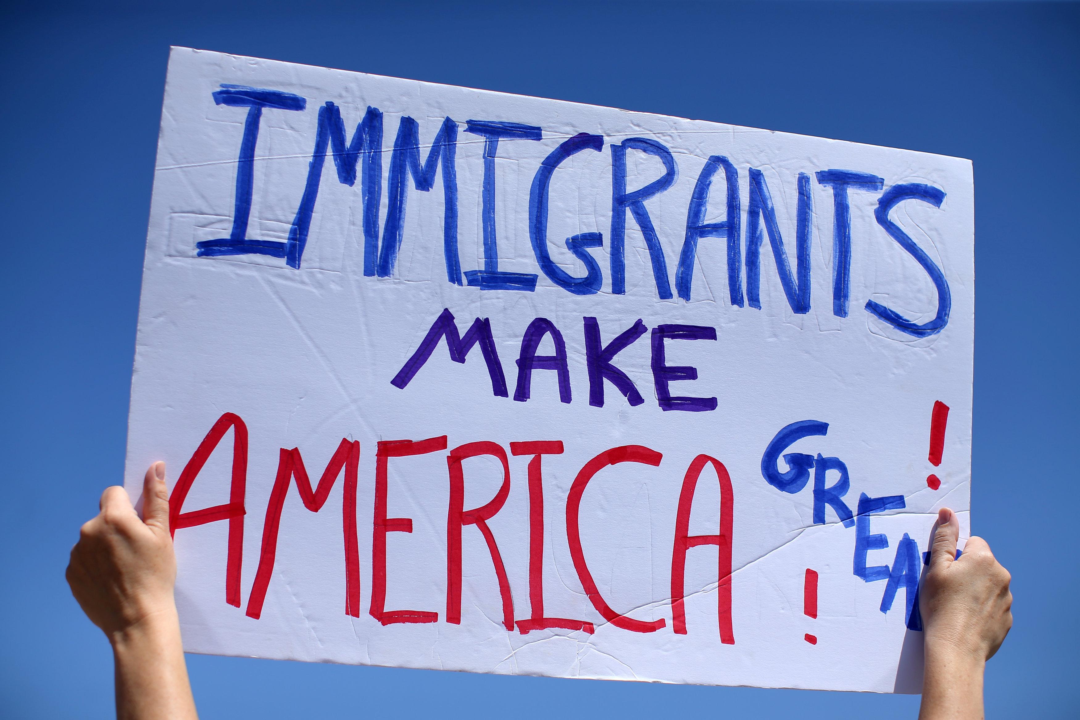 Protesters at U.S.-Mexico border in San Ysidro, California
