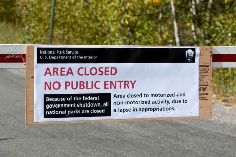 US National Parks closure sign at entrance to the Grand Tetons